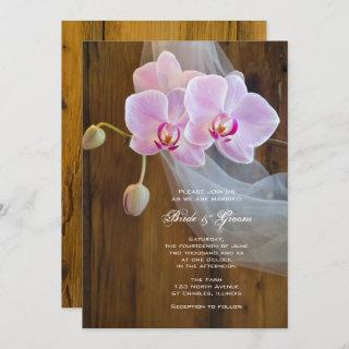 Rustic Orchid Elegance Country Wedding Invitations
