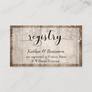 Rustic Pale Brown Wood w/ Lights, Wedding Registry Enclosure Card