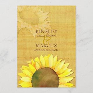Rustic Papyrus Watercolor Sunflowers Wedding Invitation