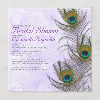 Rustic Peacock Feather Bridal Shower Invitations