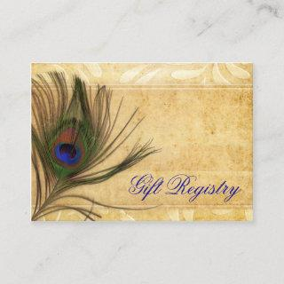 Rustic Peacock Feather wedding gift registry Enclosure Card