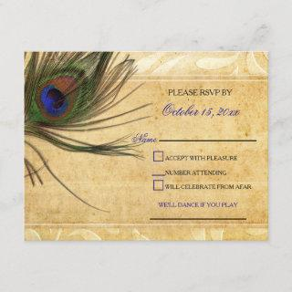 Rustic Peacock Feather wedding  rsvp