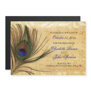 Rustic Peacock Feather wedding save the date Magnetic