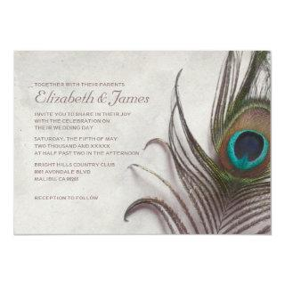 Rustic Peacock Feathers Wedding Invitations