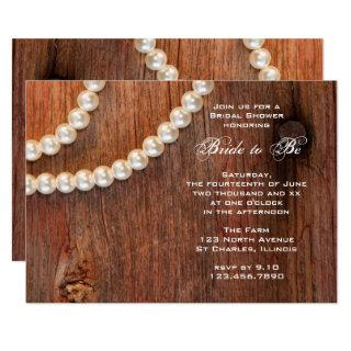 Rustic Pearls and Barn Wood Country Bridal Shower Invitations