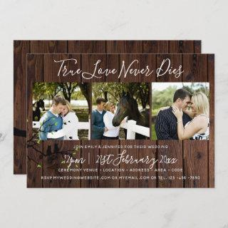 Rustic PHOTO Collage Wedding Invitations Wood