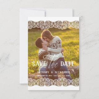 Rustic Photo Lace Effect Whimsical Typography Save The Date