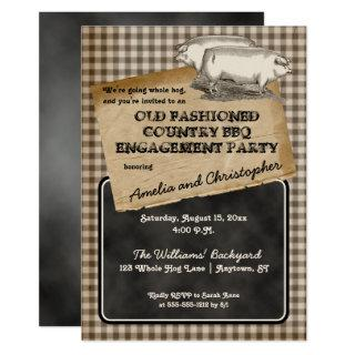 Rustic Pig Roast Backyard BBQ Engagement Party Invitation