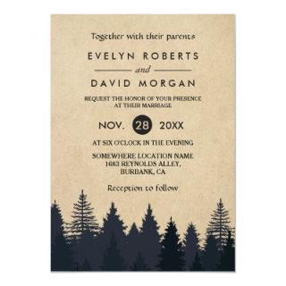 Rustic Pine Trees Kraft Winter Wedding Invitations