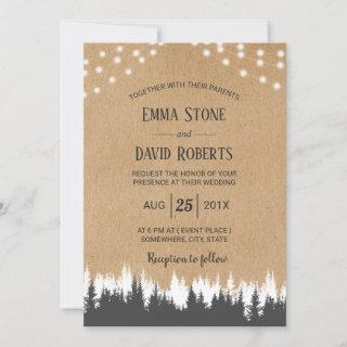Rustic Pine Trees & String Lights Forest Wedding Invitations