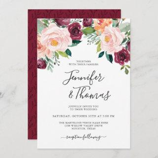 Rustic Pink and Burgundy Floral Wedding Invitations