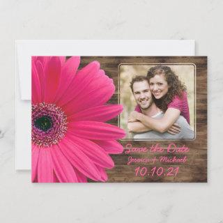 Rustic Pink Daisy Wood Photo Wedding Save the Date Announcement