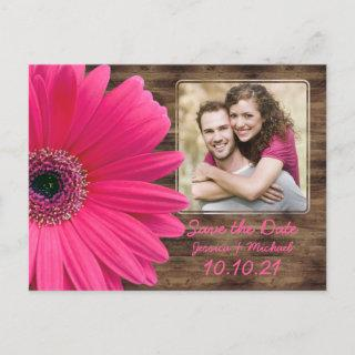 Rustic Pink Daisy Wood Photo Wedding Save the Date Announcement Postcard