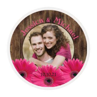 Rustic Pink Daisy Wood Photo Wedding Save the Date Edible Frosting Rounds