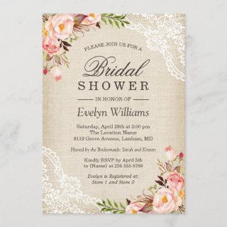 Rustic Pink Floral Ivory Burlap Lace Bridal Shower Invitations