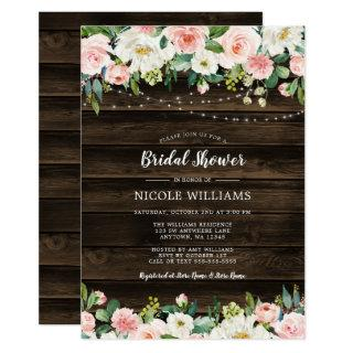 Rustic Pink Floral String Lights Bridal Shower Invitations