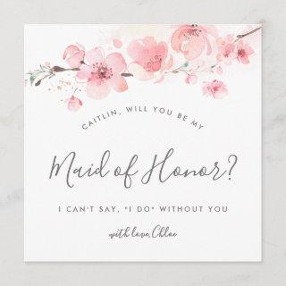 Rustic Pink Floral Will You Be My Maid of Honor Invitations