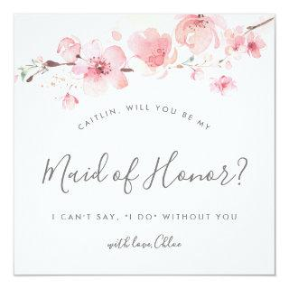 Rustic Pink Floral Will You Be My Maid of Honor Invitation