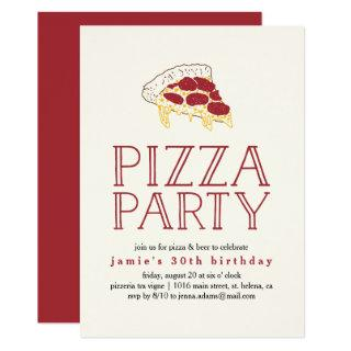 Rustic Pizza Party Invitations
