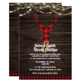 Rustic Plaid Deer Antlers Wood & String Lights Invitation