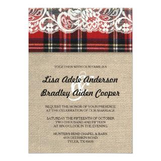 Rustic Plaid Lace Country Wedding Invitations