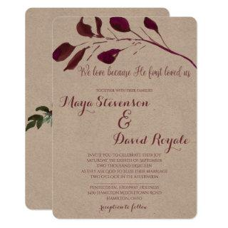 Rustic Plum | We love because He first loved us Invitation