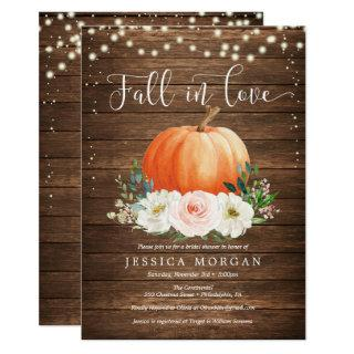 Rustic Pumpkin Fall in Love Bridal Shower Invites