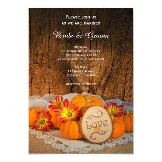 Rustic Pumpkins Fall Barn Wedding Invitation