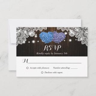 Rustic Purple and Blue Floral Wedding RSVP Cards