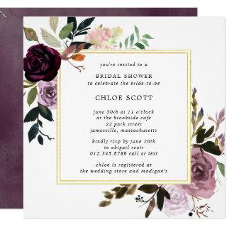 Rustic Purple and Mauve Pink Floral Bridal Shower Invitations