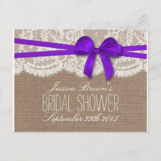 Rustic Purple Bow Bridal Shower Recipe Cards