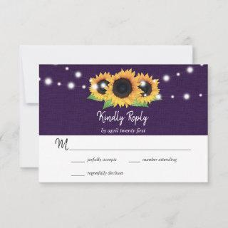 Rustic Purple Burlap and Sunflower RSVP Card