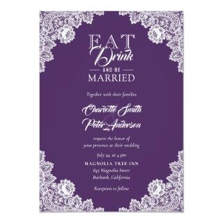 Rustic Purple Burlap Lace Eat Drink and Be Married Invitation