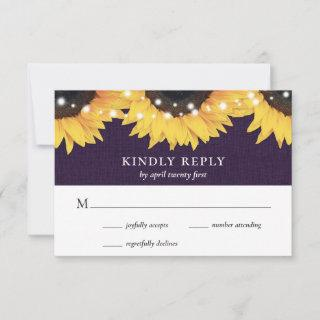 Rustic Purple Burlap Lace Sunflower RSVP Card