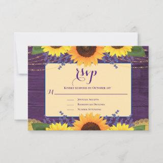 Rustic Purple Gold Lace Sunflower Wedding RSVP
