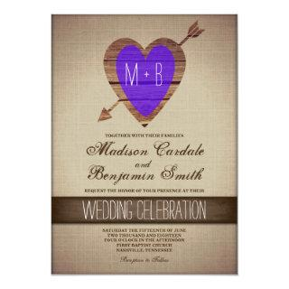 Rustic Purple Heart Arrow Country Wedding Invites