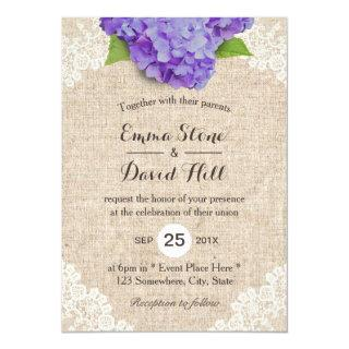 Rustic Purple Hydrangea Floral Lace Burlap Wedding Invitation