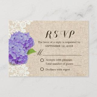 Rustic Purple Hydrangea Lace & Burlap Wedding RSVP