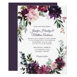 Rustic Purple Pink Mauve Red Floral Wreath Wedding Invitation
