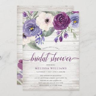 Rustic Purple Watercolor Floral Bridal Shower Invitations