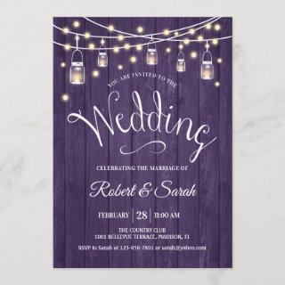Rustic Purple Wood & Lights Wedding Invitations