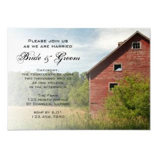Rustic Red Barn Country Wedding Invitations