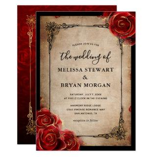 Rustic Red Rose Gold Black Vintage Elegant Wedding Invitations