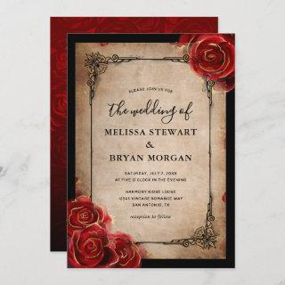 Rustic Red Rose Gold Black Vintage Elegant Wedding Invitation