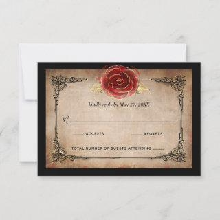 Rustic Red Rose Gold Black Vintage Elegant Wedding RSVP Card