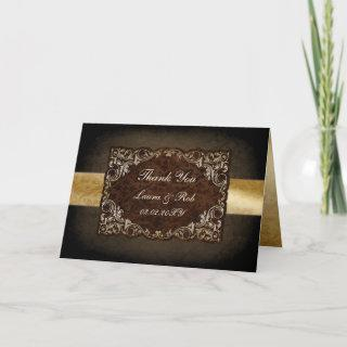 Rustic Regal Ornamental Brown And Gold Wedding Thank You Card
