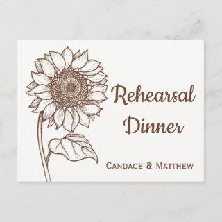 Rustic Rehearsal Dinner Sunflower Brown Floral Invitation Postcard