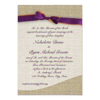 Rustic Ribbon and Burlap Orange and Purple Wedding Invitation