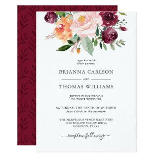 Rustic Romance Burgundy and Pink Floral Wedding Invitation