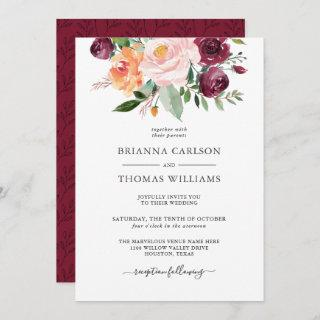 Rustic Romance Burgundy and Pink Floral Wedding Invitations